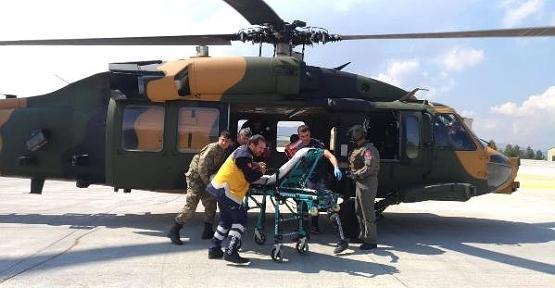 Barajda Yaralanan İşçi, Hastaneye Askeri Helikopterle Ulaştırıldı