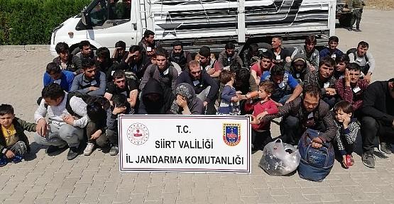 Siirt-Baykan İlçesinde Yakalanan 40 Düzensiz Göçmen Sınır Dışı Edildi