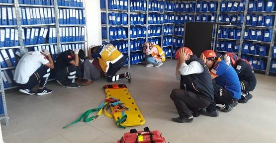 PTT 'de Deprem Tatbikatı Yapıldı