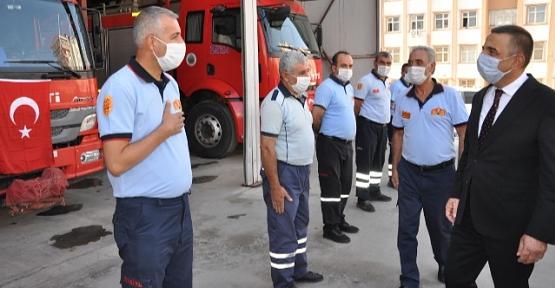 Vali/Belediye Başkan V. Hacıbektaşoğlu'ndan İtfaiyeye Ziyaret
