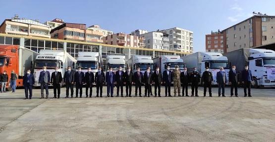 Siirt Valiliği Öncülüğünde Toplanan 10 Yardım Tırı İzmir İçin Yola Çıktı