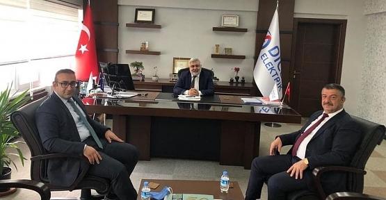 Kaymakam Hasar ve Başkan Cellek, Dicle Elektrik Genel Müdürü Arvas'ı Ziyaret Etti