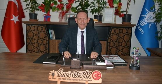 AK Parti Merkez İlçe Başkanı Öner Geyik'ten 8 Mart Dünya Kadınlar Günü Mesajı