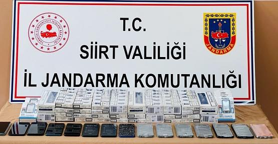 Siirt'te Kaçak Sigara İle Cep Telefonu Ele Geçirildi