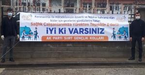 AK Parti Siirt Gençlik Kolları'ndan Sağlıkçılara Destek Pankartı