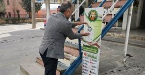 Veysel Karani Beldesinde Caddelere Sensörlü El Dezenfektanı Otomatları Yerleştirildi