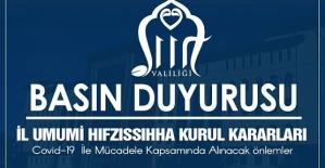 SİİRT VALİLİĞİ İL UMUMİ HIFZISSIHHA KURUL  KARARI