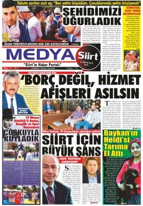 MedyaSiirt.Com - siirt, siirt haberleri, son dakika siirt haberleri, siirtspor, veleye, medya siirt, www.medyasiirt.com, Siirtliler, siirt haber, medya siirt gazetesi - 21.05.2019 Manşeti